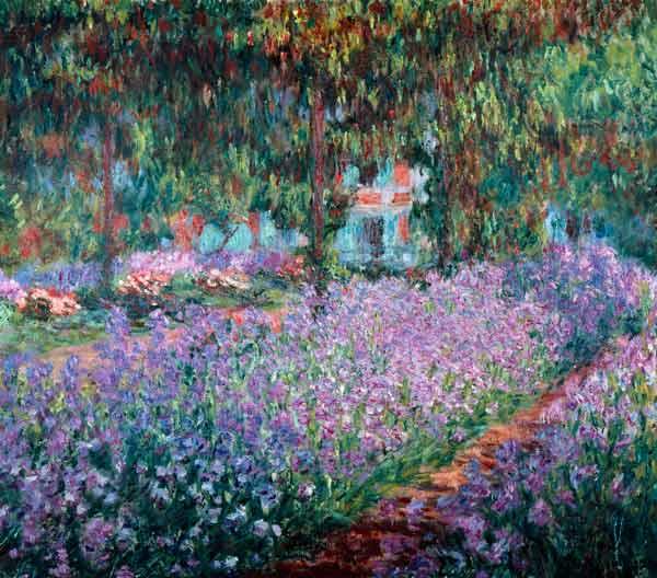 Il giardino di Monet, iris - Claude Monet riproduzione stampata o copia  dipinta a mano e ad olio su tela