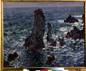 The rocks in Belle-Ile (Pyramides de Port-Coton, Mer sauvage)