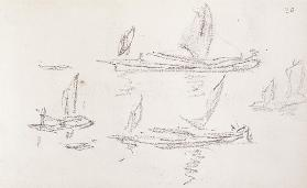Study for London series, Boats on the Thames cil on