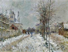 The boulevard de Pontoise in Argenteuil at snow