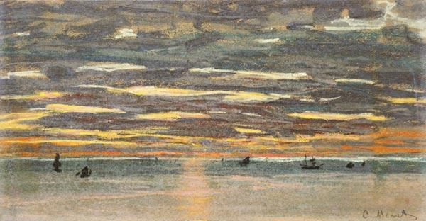 Sunset Over the Sea, 19th century (pastel & gouache on paper)
