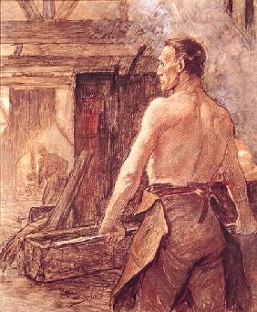 Foundry Worker, 1902 (pastel & gouache on paper)