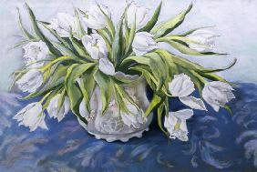White Tulips (pastel on paper)