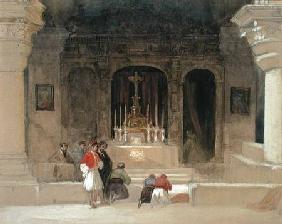 Chapel of St. Helena, Holy Sepulchre, Jerusalem, from 'The Holy Land', 1842-49 (w/c