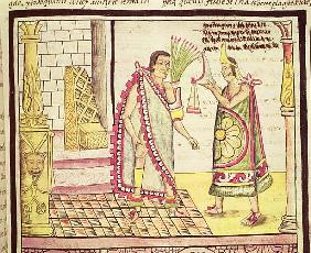 Fol.152v The Crowning of Montezuma II (1466-1520) the Last Mexican Emperor in 1502