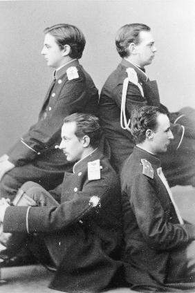 Grand Duke Alexander with brother Vladimir and cousins Nicholas Maximilianovich and Sergei Maximilia