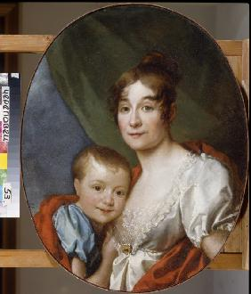 Portrait of Countess Ekaterina Alexandrovna Shakhovskaya (1777-1846) with Daughter