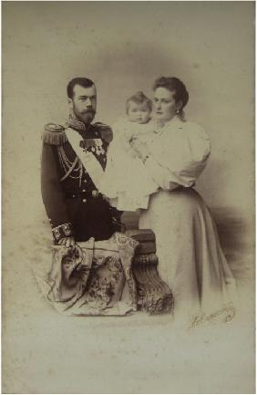 Portrait of Nicholas II of Russia with Alexandra Fyodorovna and Daughter Olga