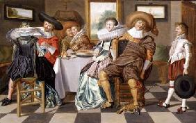Elegant Figures Feasting at a Table