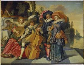 Elegant musical society on a terrace