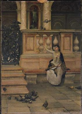 Lady with pigeons