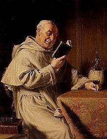 Reading monk with red wine-glass.