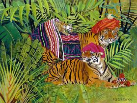 Tiger family with Thai Clothes