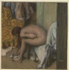 After the Bath, Woman Drying her Left Foot