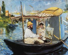 Monet painting on his Studio Boat