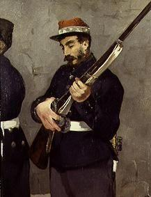 The Erschiessung emperors of Maximilian of Mexico 1867. detail: Soldier with gun