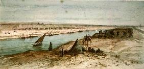 The Suez Canal from a souvenir album commemorating the Voyage of Empress Eugenie (1827-1920) at the