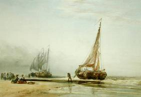 Dutch Fishing Boats on the Beach with Groups of Fisherfolk