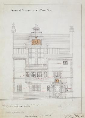 Working drawing for House and Studio for F. Miles Esq, Tite Street, Chelsea