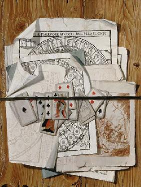 Trompe l ' oeil with different prints and playing cards