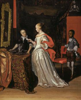 A Lady Holding A Letter Attended By A Negro Page As A Maid Places A Silver Ewer And Basin On A Table