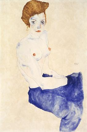 Seated blue nude