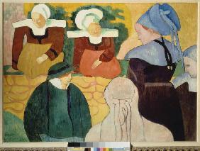 Breton women on a wall