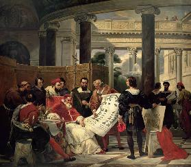 Pope Julius II ordering Bramante, Michelangelo and Raphael to construct the Vatican and St. Peter's