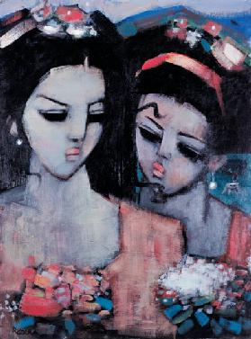 Sisters (oil on canvas)