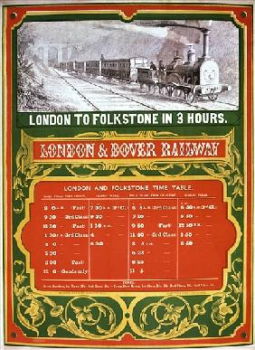 Early timetable for the London to Dover Railway