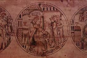 Harl. Roll Y.6 St. Guthlac is Ordained Priest by Bishop Hedda
