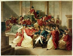 Coup d'Etat of 18 Brumaire, November 10th, 1799 (colour litho)