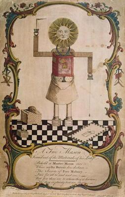 A freemason forged through the tools of his lodge, 1754 (coloured engraving)
