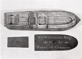 Aerial view of the model of the slave ship 'Brookes' used by William Wilberforce in the House of Com