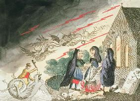 Three Witches in a Graveyard, c.1790s (coloured engraving)