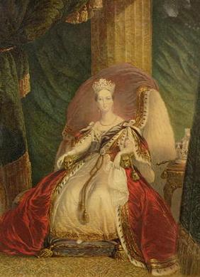 Portrait of Queen Victoria (1819-1901) (colour litho)