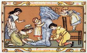 Christmas Stocking For You, a Victorian christmas card (engraving)