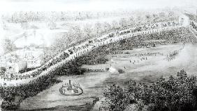 Her Most Gracious Majesty and Escort Leaving the Palace, from a series of bird's eye views taken on