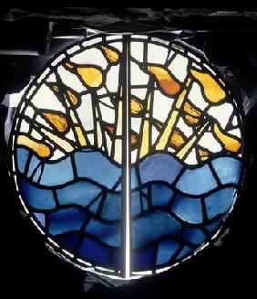 Light and Darkness, Night and Day, detail from the Creation Window, designed by William Morris or Ed
