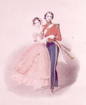 Queen Victoria (1819-1901) and Prince Albert Dancing (1819-61) (colour litho)