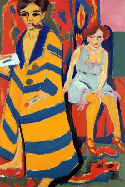 Self-portrait with model (paints over 1926)