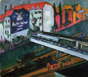 Strassenbahn and railway, look out of the studio of the artist.