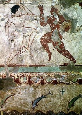 Two Dancers and Dolphins Leaping through Waves, frieze from the Tomb of the Lionesses in the necropo