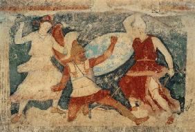 Two Amazons in combat with a Greek, from Tarquinia
