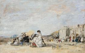 Lady in white on the beach at Trouville