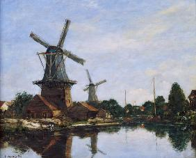 Dutch Windmills, 1884 (oil on canvas)
