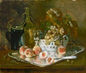 Still life with peaches, grapes and wine-glass