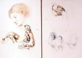Six studies of female models, two pages from one of the artist's sketchbooks (pencil