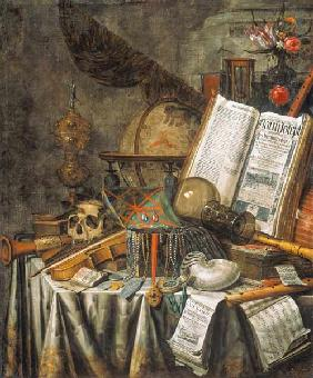 Vanitas quiet life with musical instruments, astrological globe u.anderen pieces