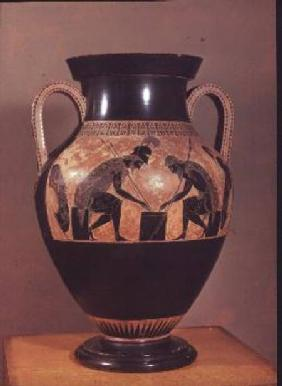 Amphora decorated in black-figure painting signed